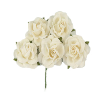 "Antique White - 1.5"" Premium Paper Roses"