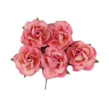 "Antique Pink Dipped - 1.5"" Premium Paper Roses"