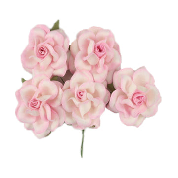 "Light Pink Dipped - 1.5"" Premium Paper Roses"
