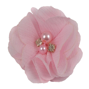 "Light Pink - 2"" Chiffon Pearl & Rhinestone Flower"