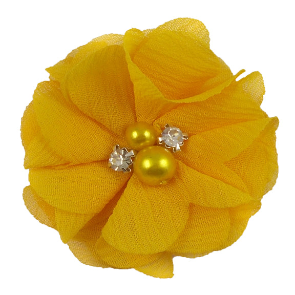 "Golden Yellow - 2"" Petite Chiffon Pearl & Rhinestone Flower"