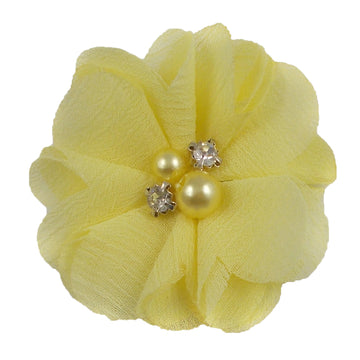 "Light Yellow -  2"" Chiffon Pearl & Rhinestone Flower"