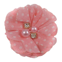 "Light Pink & White Polka Dots - 2"" Chiffon Pearl & Rhinestone Flower"