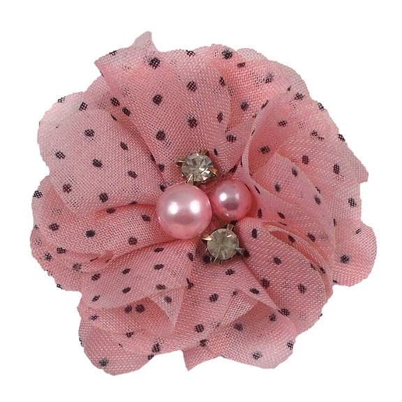 "Light Pink & Black Polka Dots - 2"" Chiffon Pearl & Rhinestone Flower"