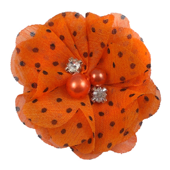 "Orange & Black Polka Dots - 2"" Petite Chiffon Pearl & Rhinestone Flower"