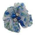 "Blue Watercolor - 2"" Petite Chiffon Pearl & Rhinestone Flower"