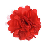 "Red - 2"" Satin & Mesh Flower"