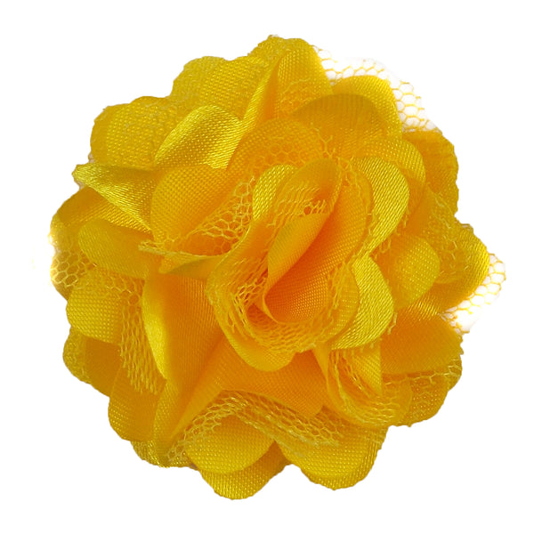 "Yellow - 2"" Satin & Mesh Flower"