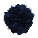 "Navy Blue - 2"" Satin & Mesh Flower"