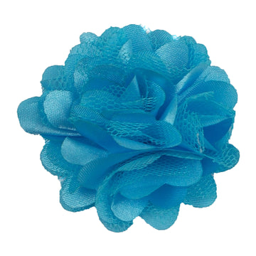 "Aqua Blue - 2"" Satin & Mesh Flower"