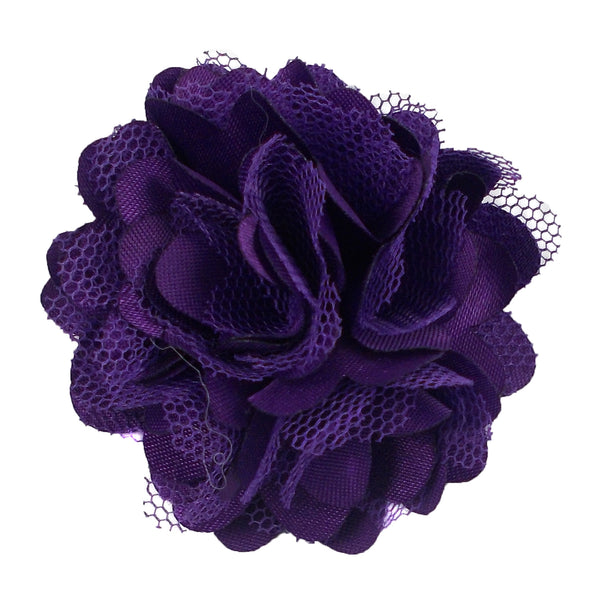 "Purple - 2"" Satin & Mesh Flower"