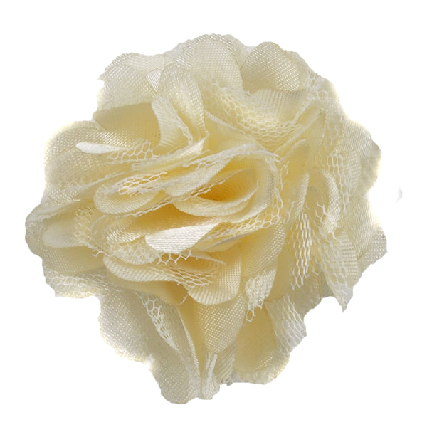 "Cream - 2"" Satin & Mesh Flower"