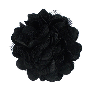 "Black - 2"" Satin & Mesh Flower"