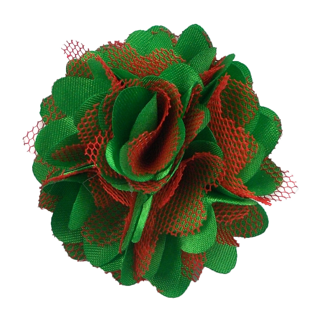 "Red & Green - 2"" Satin & Mesh Flower"