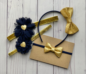Navy & Gold - Big Sister/Little Sister Headband Kit