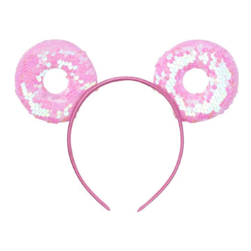 "Pink Donut - 3.25"" Reversible Sequins Mouse Ears Headband"