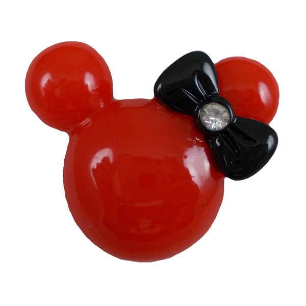 "Red Minnie Mouse - 1.25"" Flatback Resin Applique"