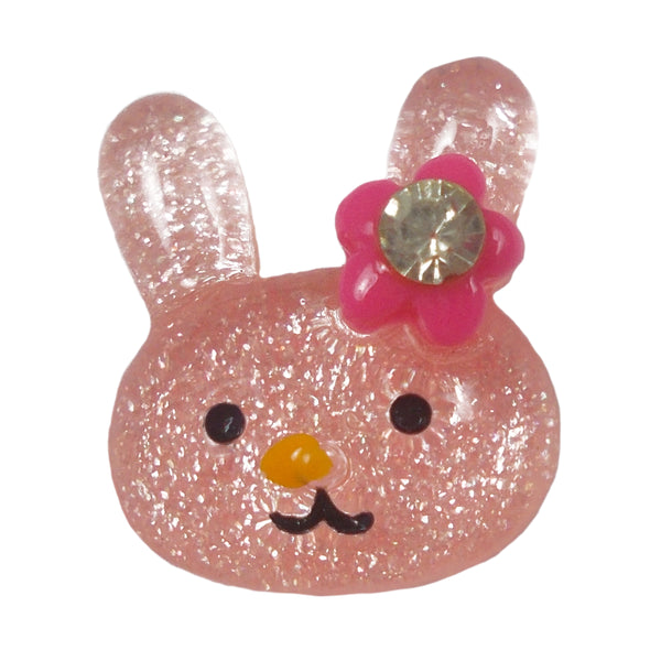"Light Pink Glitter Bunny - 1/2"" Flatback Resin Applique"
