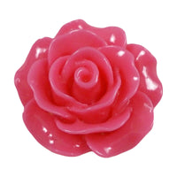 "Hot Pink Cabochon Rose - 3/4"" Flatback Resin Applique"