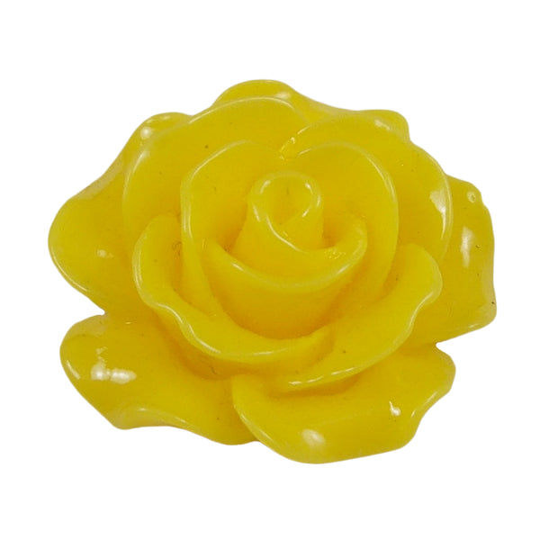 "Yellow Cabochon Rose - 3/4"" Flatback Resin Applique"