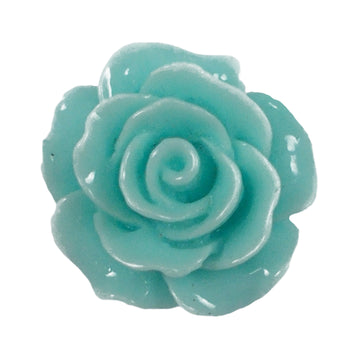 "Aqua Cabochon Rose - 3/4"" Flatback Resin Applique"