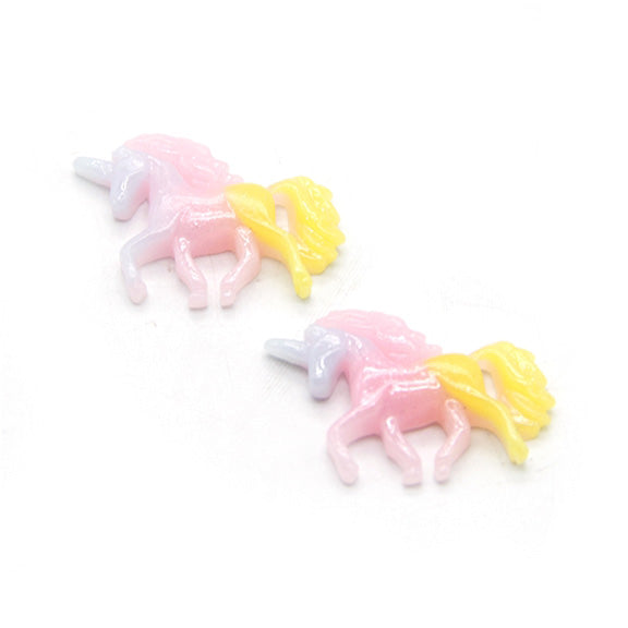 "Pink, Light Blue, and Yellow - 1"" Resin Glitter Unicorn- Flatback Resin Applique"