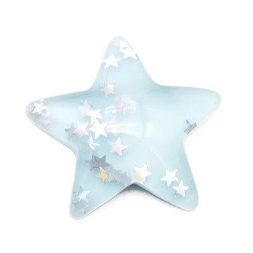 "Aqua - 1"" Resin Glitter Star - Flatback Resin Applique"