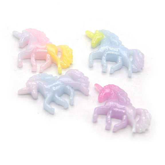"Light Blue, Yellow, & Lavender - 1"" Resin Glitter Unicorn- Flatback Resin Applique"