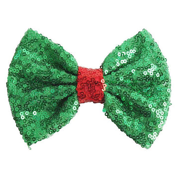 "Green & Red - 5"" XL Sequin Bow"