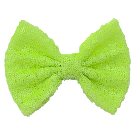 "Neon Yellow - 5"" XL Sequin Bow"