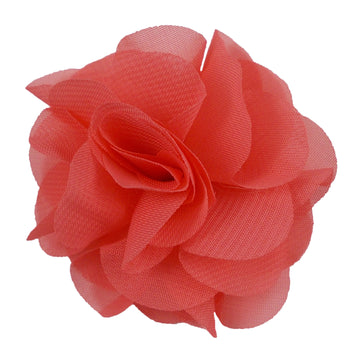 "Coral - 2.5"" Small Chiffon Rose"