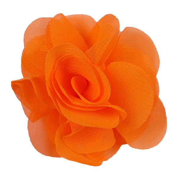 "Neon Orange - 2.5"" Small Chiffon Rose"