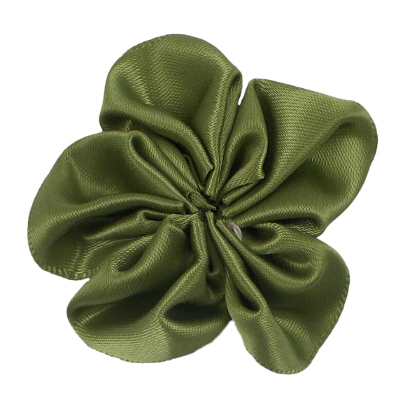 "Olive Green - 2"" Satin Ribbon Flower"