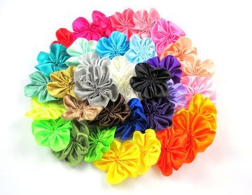 "Grab Bag - 2"" Satin Ribbon Flowers - 10 Flowers"