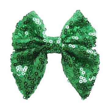 "Green - 3"" Sequins Sailor Bow"