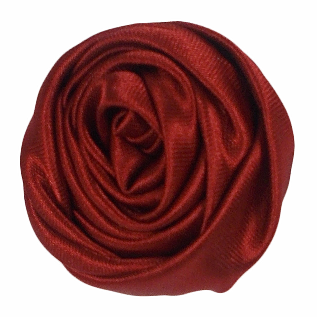 "Burgundy - 1.5"" Satin Twisted Rose"