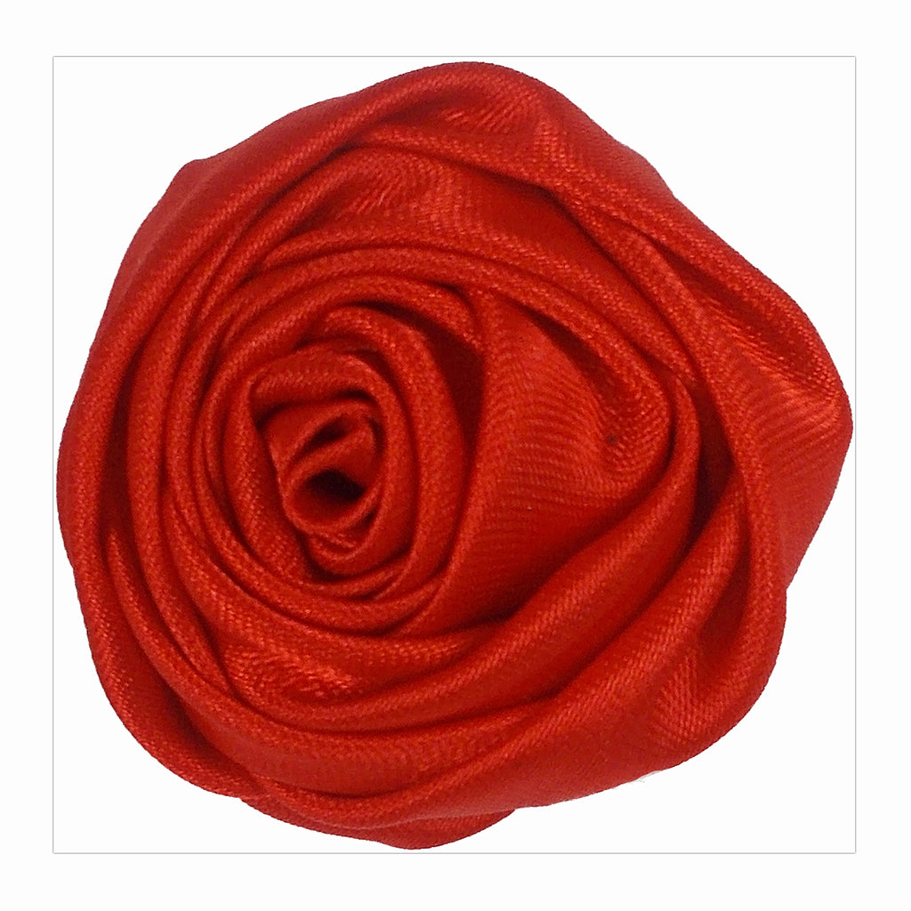 "Red - 1.5"" Satin Twisted Rose"