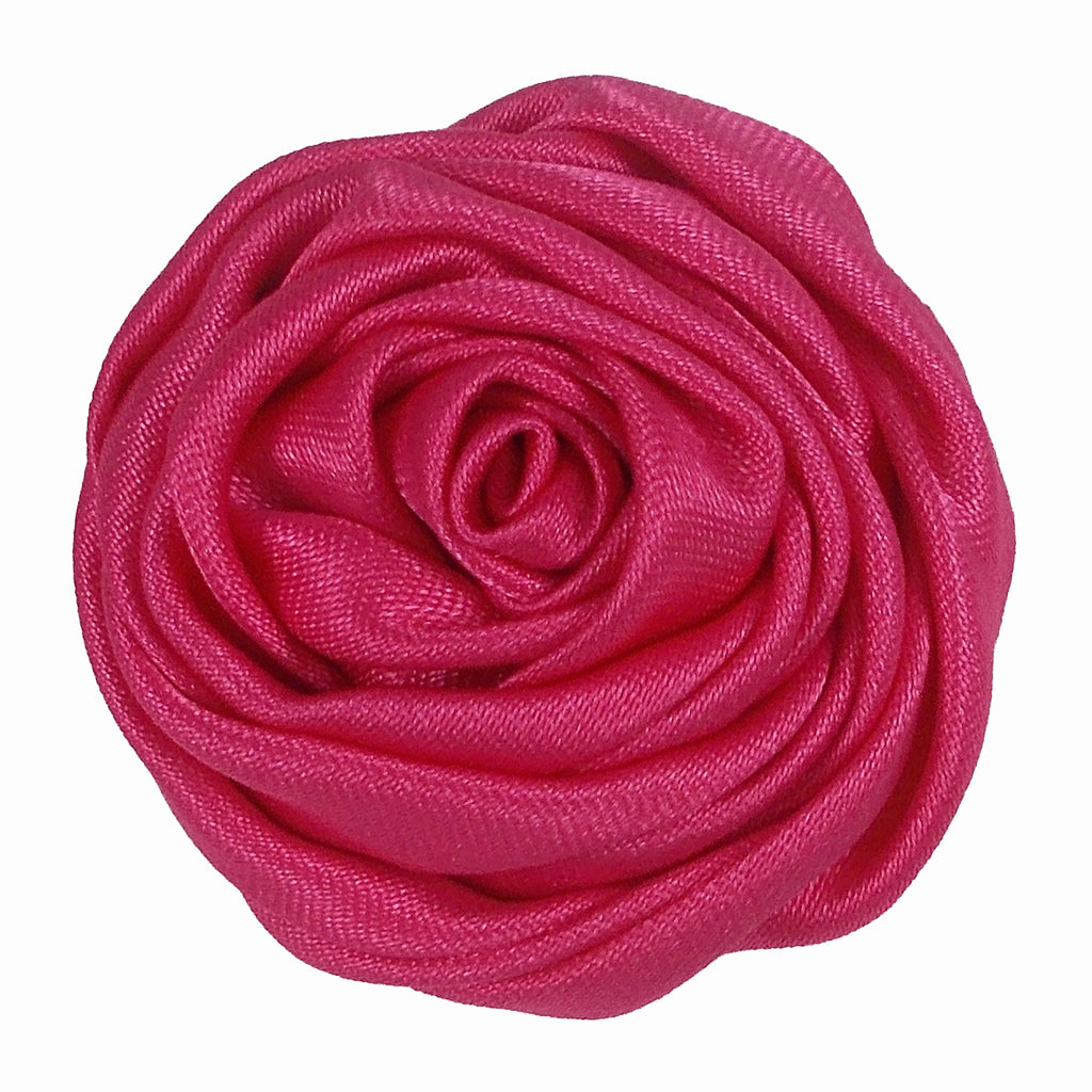 "Hot Pink - 1.5"" Satin Twisted Rose"