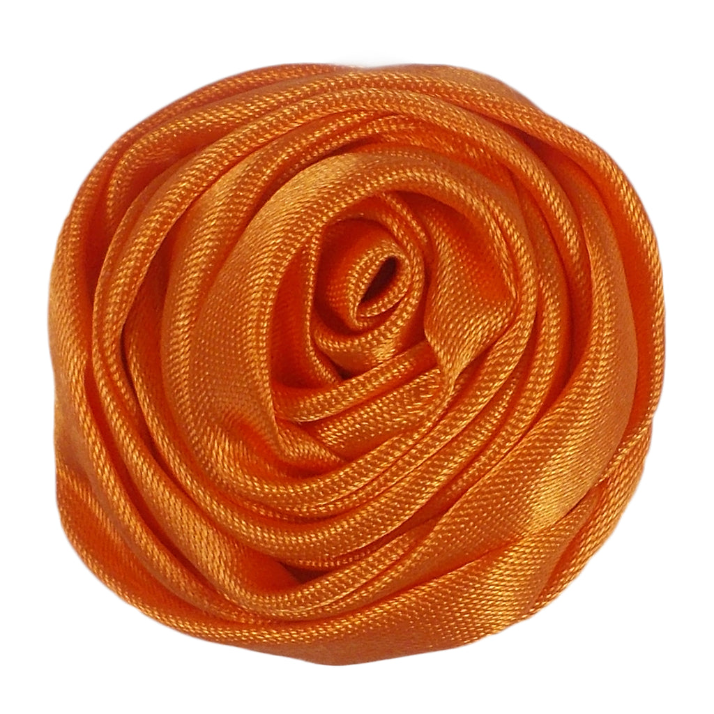 "Orange - 1.5"" Satin Twisted Rose"