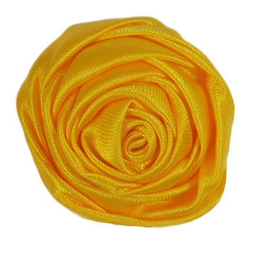 "Yellow - 1.5"" Satin Twisted Rose"