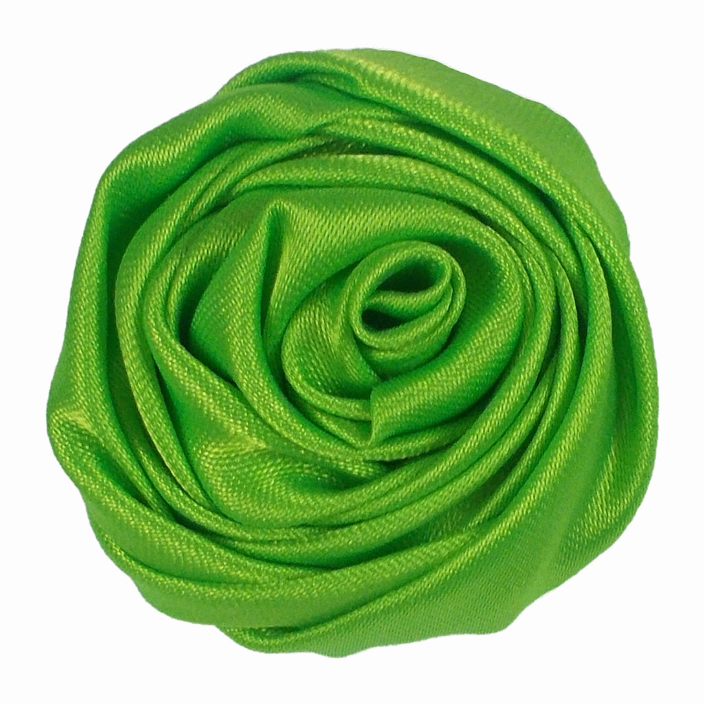 "Lime Green - 1.5"" Satin Twisted Rose"