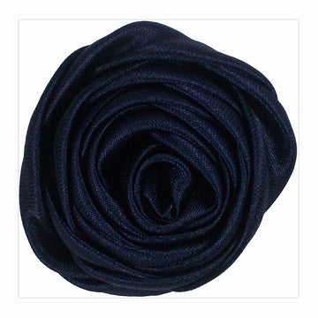 "Navy Blue - 1.5"" Satin Twisted Rose"