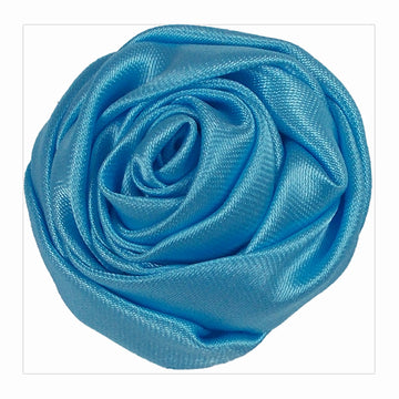 "Light Blue - 1.5"" Satin Twisted Rose"