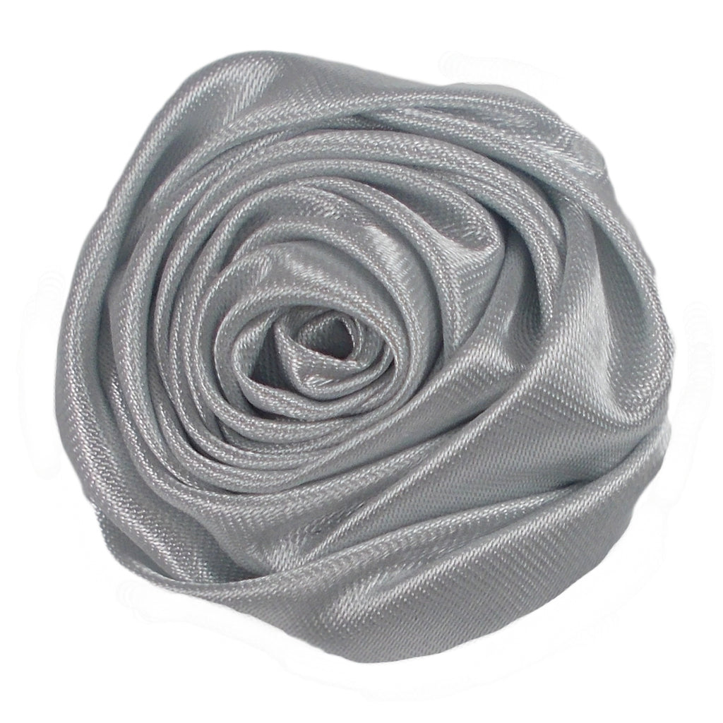 "Silver - 1.5"" Satin Twisted Rose"