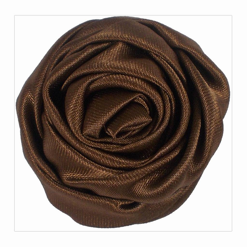 "Brown - 1.5"" Satin Twisted Rose"