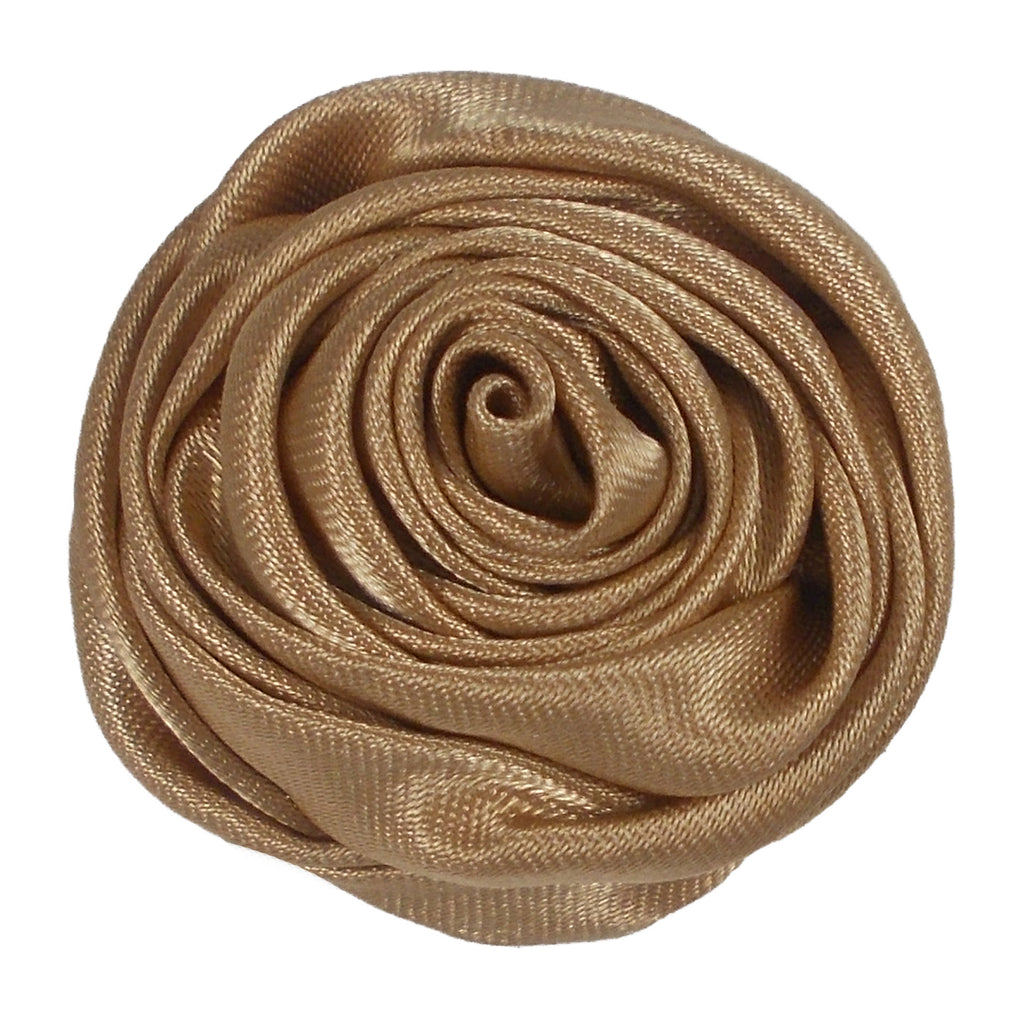 "Tan - 1.5"" Satin Twisted Rose"