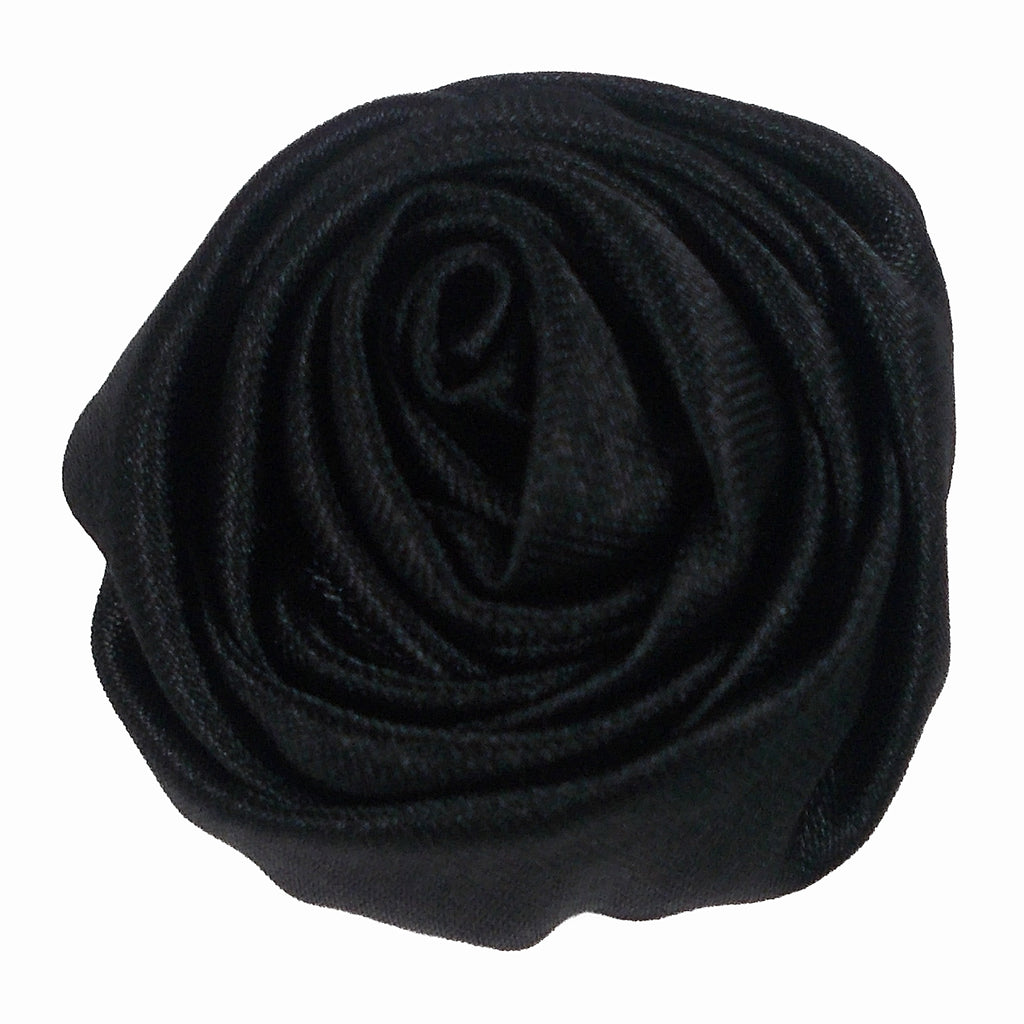 "Black - 1.5"" Satin Twisted Rose"