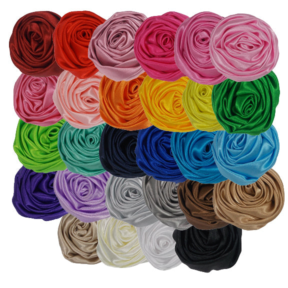 "Grab Bag - 1.5"" Satin Twisted Rose - 10 Flowers"