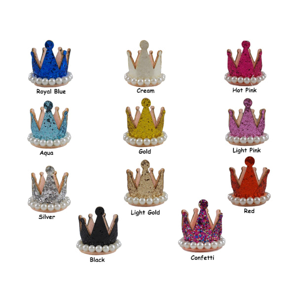 "Grab Bag - 1.5"" Glitter Crown with Pearls - 10 Crowns"