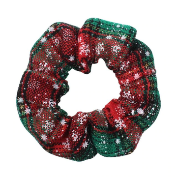 Green + Red Plaid + Snowflakes - Fabric Scrunchie